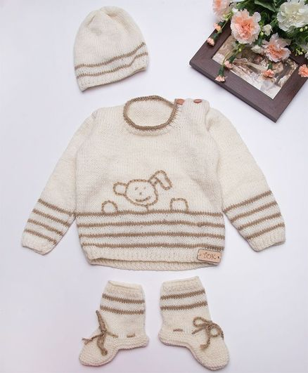 The Original Knit Design Full Sleeves Sweater With Cap & Booties - Off White & Brown