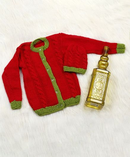 The Original Knit Solid Sweater With Cap - Red & Green
