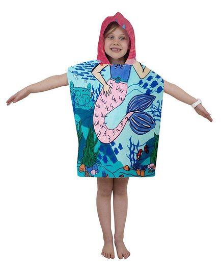Athom Trendz Premium Cotton Bath Poncho Mermaid Print - Blue