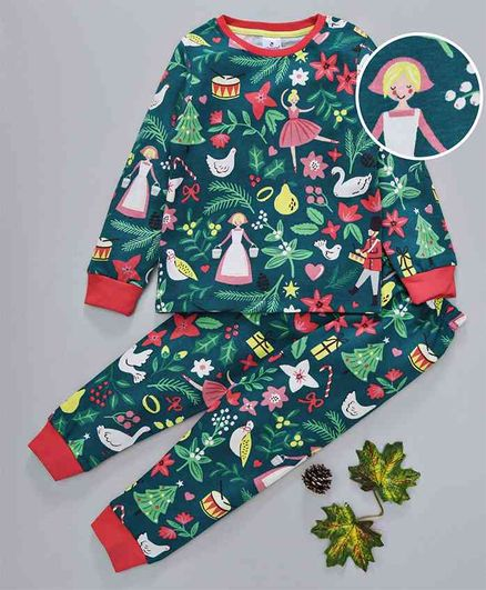 Ollypop Full Sleeves Night Suit Girl Print - Dark Green