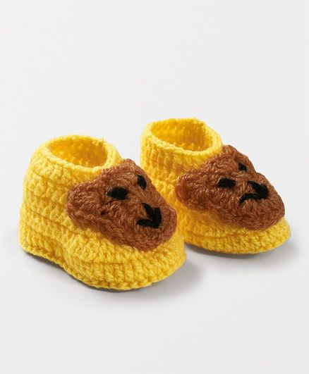 Knits & Knots Bear Design Booties - Yellow & Brown