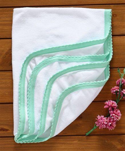 Tinycare Plain Terry Baby Bath Towel - White & Light Green