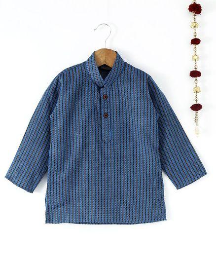 Rikidoos Stripes Full Sleeves Kurta - Blue