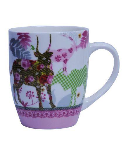 Oyekitchen Animal Print Ceramic Milk Mug 200 ml - (Colour may Vary)