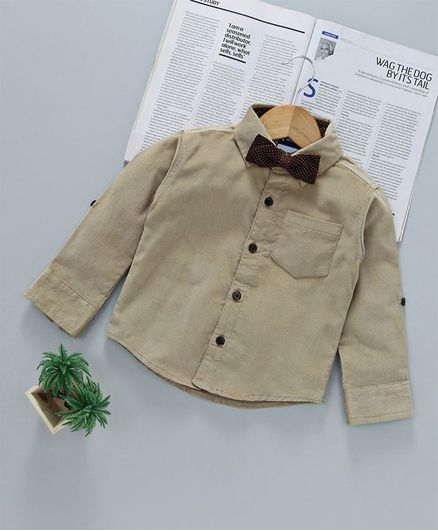 cf0fcc9e1655 Little Kangaroos Full Sleeves Party Wear Corduroy Shirt With Bow Tie ...