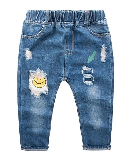 Pre Order - Awabox Smiley Print Full Length Denim Jeans - Blue