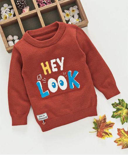 Kookie Kids Hey Look Printed Full Sleeves Sweater - Brown