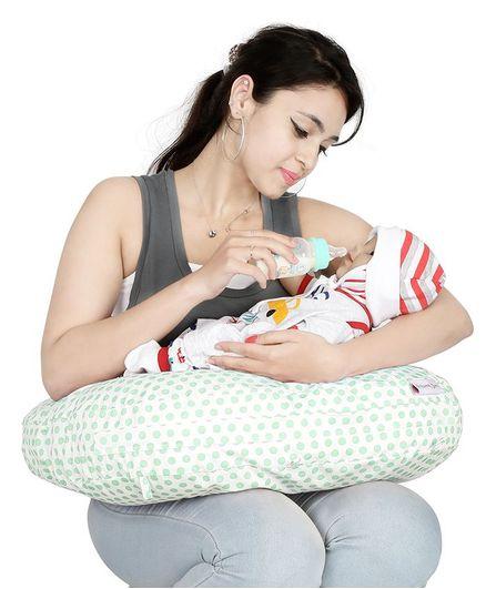 Lulamom Allergen Protected Nursing Pillow & Cover Polka Dots Print - Green