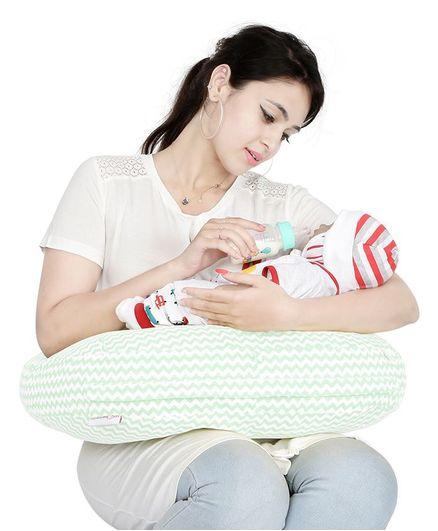Lulamom Portable Curved Soft Feeding Pillow Chevron Pattern - Green