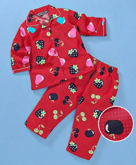 Enfance Core Strawberry Printed Night Suit - Red