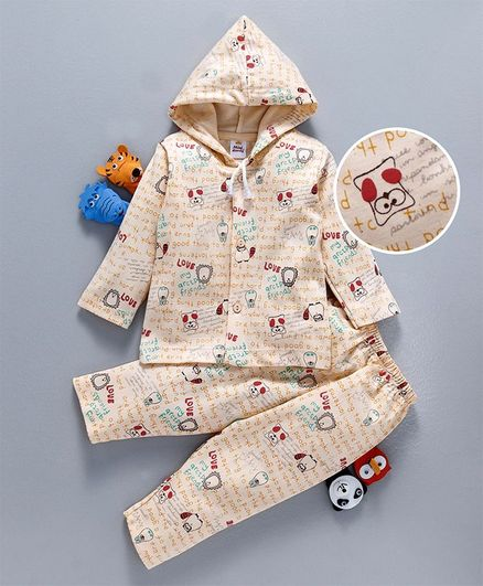 Mini Donuts Full Sleeves Hooded Night Suit Text Print - Peach