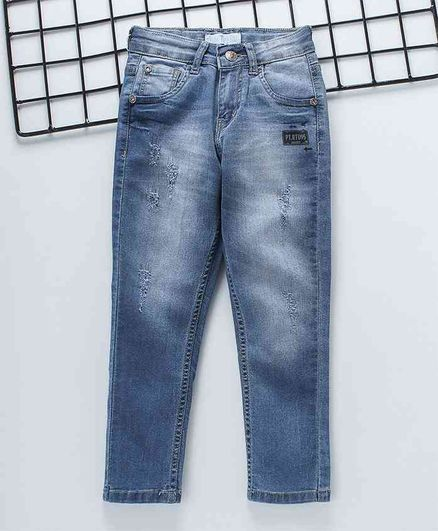 Palm Tree Full Length Stone Wash Distressed Jeans - Blue