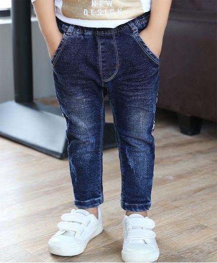 Awabox Side Printed Full Length Jeans -  Blue