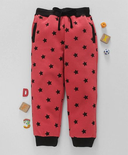 Olio Kids Full Length Thermal Bottoms Star Print - Coral