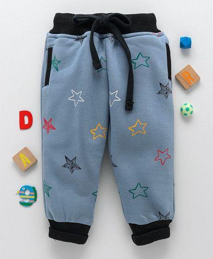 Olio Kids Full Length Thermal Bottoms Allover Star Print - Light Blue