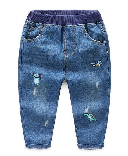 Awabox Embroidered Full Length Jeans - Blue