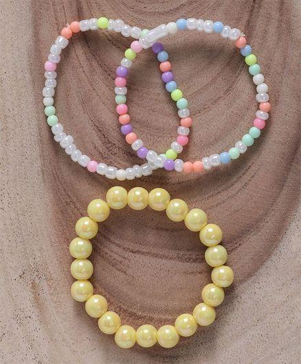 Babyhug Pearl & Beaded Bracelet Pack of 4 - Yellow