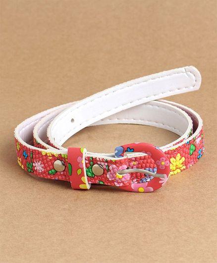 Babyhug Belt With Buckle Closure Flower Print - Red