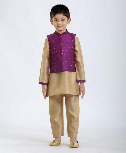 Babyhug Full Sleeves Solid Kurta Pyjama & Jacket Set - Beige Purple