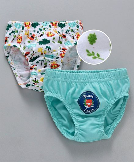 Babyhug Cotton Briefs Nature and Animals Print Pack of 2 - Sky Blue
