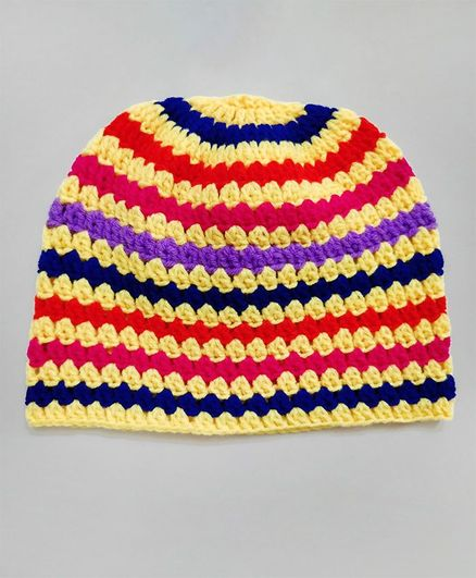 Knit Masters Striped Woolen Cap Multicolour Online in India 865242a98f6
