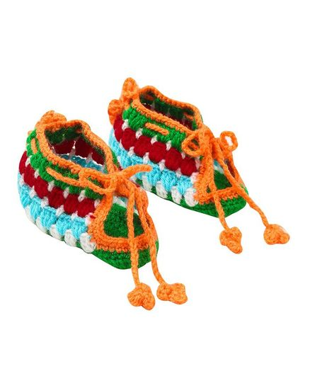 MayRa Knits Booties With Adjustable String - Multi Color