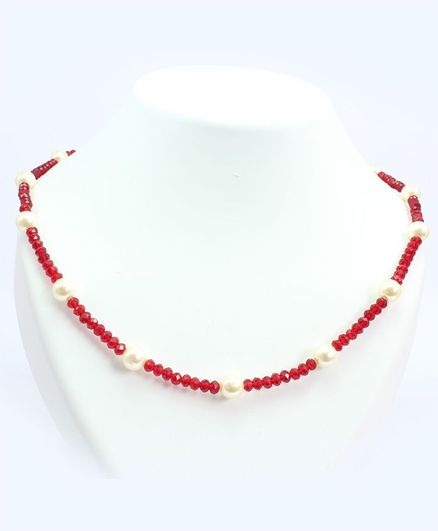 Milyra Crystal & Pearl Necklace - Off White Red