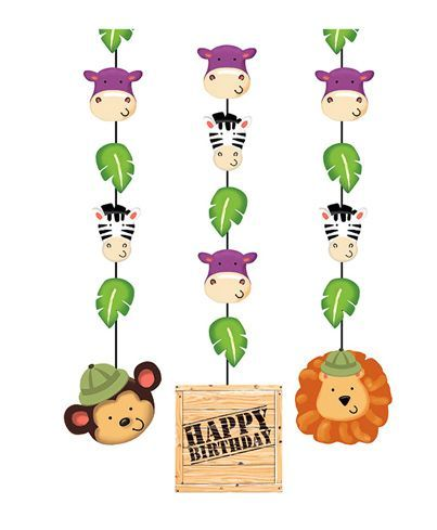 Party Propz Jungle Theme Hanging Decorations Multicolour - Pack of 3
