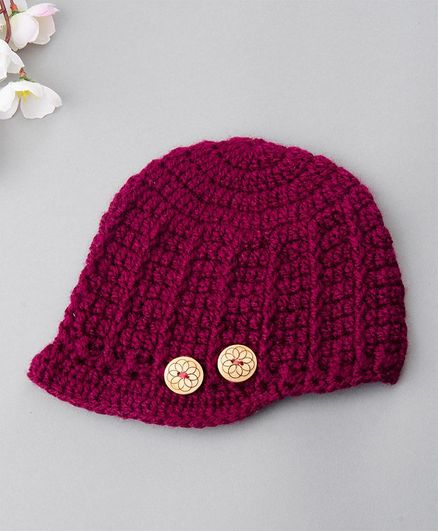 Buttercup From KnittingNani Woolen Cap With Buttons - Purple