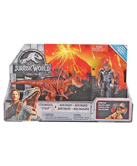 Jurassic World Stygimoloch & Mercenary Toy Figure Multicolour - Height 9 cm
