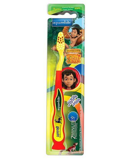 aquawhite Jiggle Wiggle Toothbrush With Mowgli Image - Yellow & Red