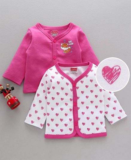 Babyhug Full Sleeves Cotton Vests Pack of 2 - White Pink