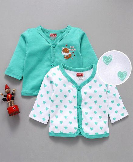 Babyhug Full Sleeves Cotton Vests Pack of 2 - White Green