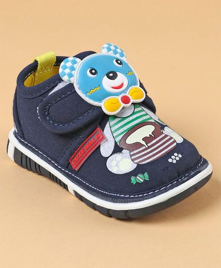 Cute Walk by Babyhug Casual Shoes Bear Patch - Blue