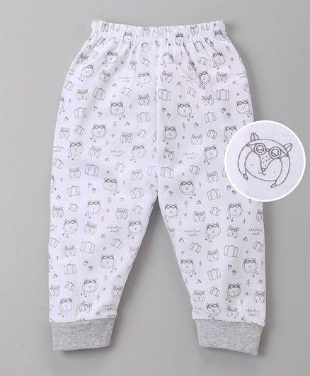 Ollypop Full Length Lounge Pant Multi Print - White & Grey