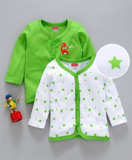 Babyhug Full Sleeves Cotton Printed Vest Pack of 2 - Green White
