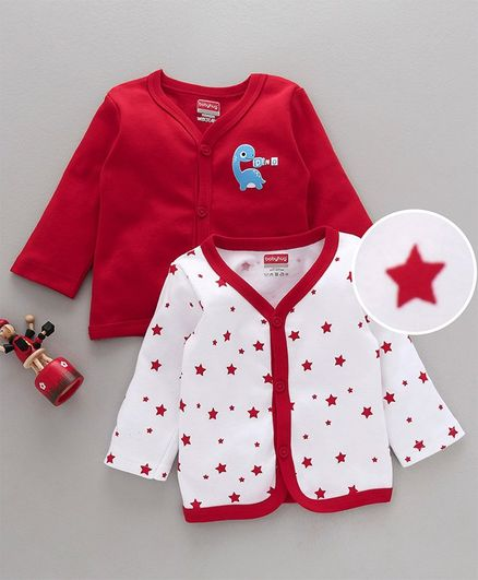 Babyhug Full Sleeves Cotton Vests Dino & Star Print Pack of 2 - White Red