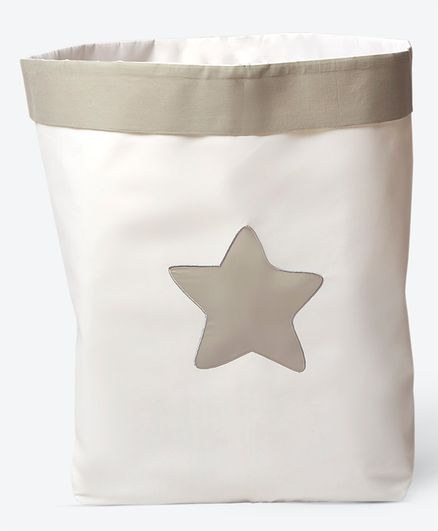 Masilo Linen For Littles Fabric Storage Baskets Star Patch Off White - Jumbo