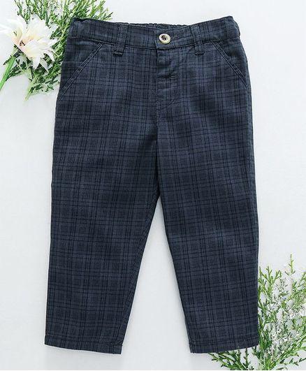 Babyhug Full Length Tartan Pattern Trouser - Dark Blue