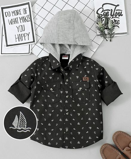 Babyhug Full Sleeves Hooded Printed  Woven Shirt - Grey