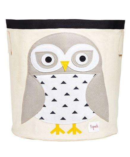 3 Sprouts Storage Bin Snowy Owl Patch - White Grey