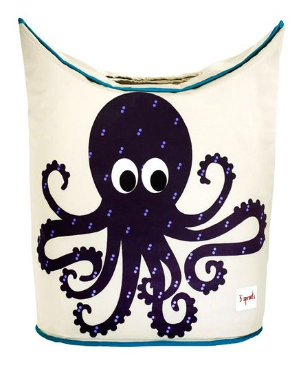 3 Sprouts Laundry Tote Bag Octopus Print - Dark Purple