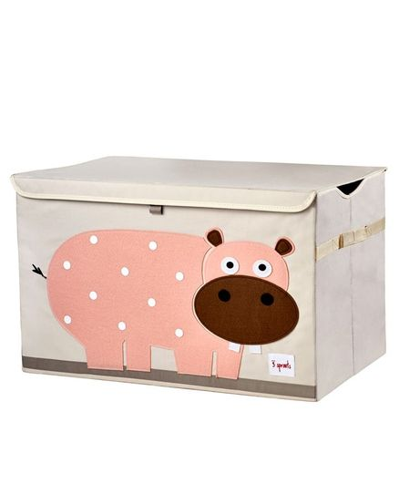 3 Sprouts Toy Chest Storage Hippo Print - Light Pink & Peach