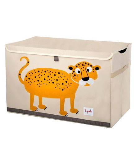 3 Sprouts Toy Chest Storage Leopard Print - Light Pink & Yellow