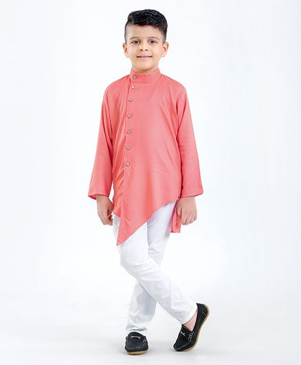 Ridokidz Full Sleeves Solid Kurta And Pajama Set - Light Pink
