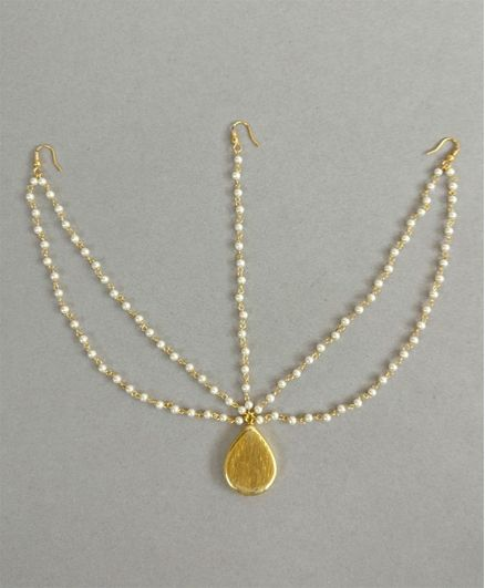 Tiny Closet Matha Patti With Pearl Strings - Golden
