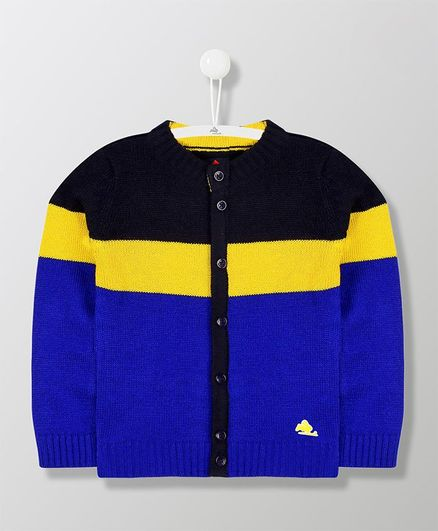 Cherry Crumble California Full Sleeves Front Button Closure Colorblock Sweater - Blue