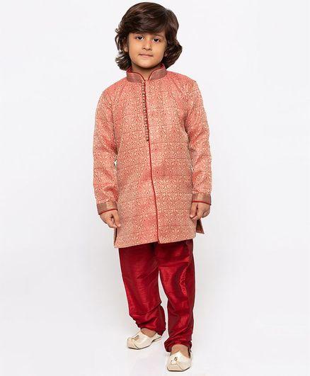JBN Creation Designer Full Sleeves Sherwani & Churidar Set - Maroon