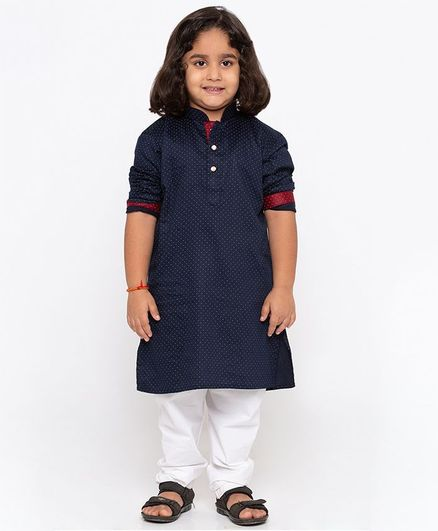 JBN Creation Polka Dot Print Full Sleeves Kurta & Pyjama Set - Navy Blue & White