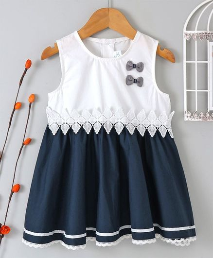 8daa22984 Buy B G Kids Bow Embellished Sleeveless Dress Blue   White for ...